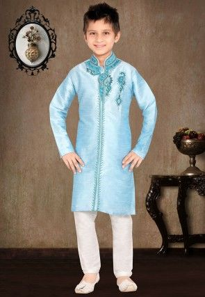 Embroidered Art Silk Kurta Pyjama Set in Sky Blue