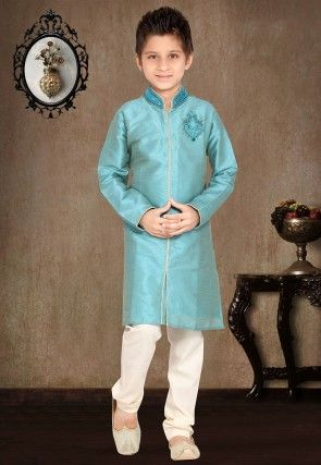 Embroidered Art Silk Kurta Pyjama Sets in Sky Blue