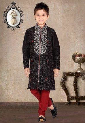 Embroidered Art Silk Kurta Pyjama Sets in Black