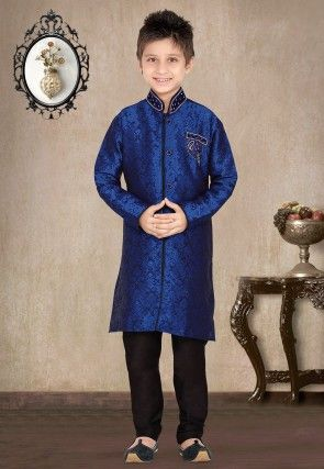 Embroidered Jacquard Kurta Pyjama Sets in Navy blue