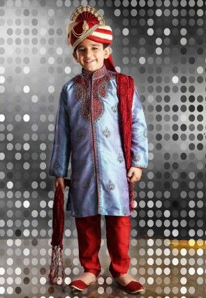 Embroidered Art Silk Sherwani sets in Blue