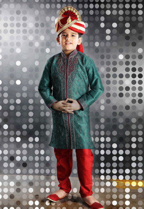 Embroidered Art Silk Sherwani sets in Teal Blue