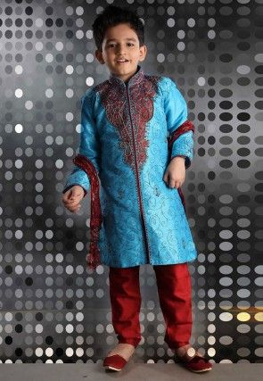 Embroidered Art Silk Sherwani set in Sky Blue