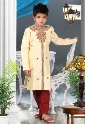 Embroidered Art Silk Kurta Pyjama Sets in Cream
