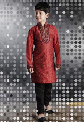 Embroidered Red Art Silk Kurta Set