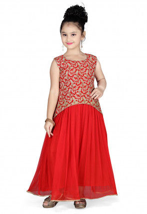 Embroidered Georgette and Net Gown in Red