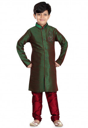 Plain Art Silk  Sherwani in Green and Maroon