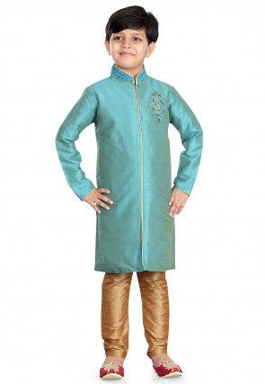 Woven Art Silk  Sherwani in Sky Blue