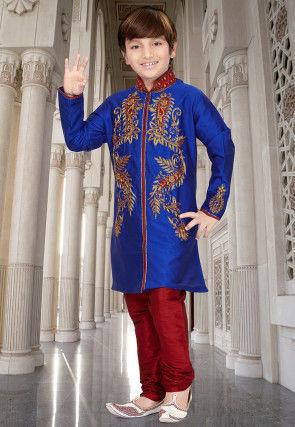 Embroidered Art Silk Sherwani in Royal Blue