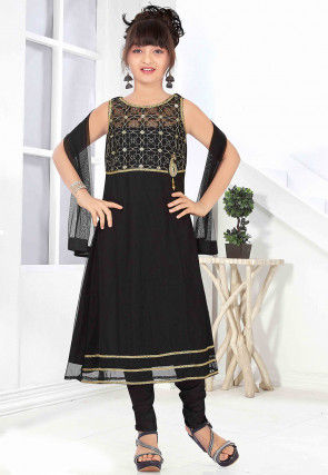 Embroidered Net Anarkali Suit in Black
