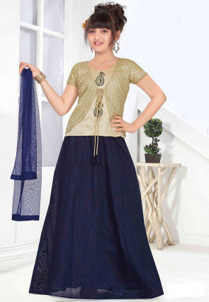 Plain Art Silk Lehenga in Navy Blue
