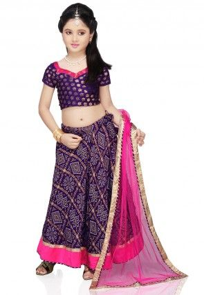 Printed Crepe Lehenga Sets in Violet