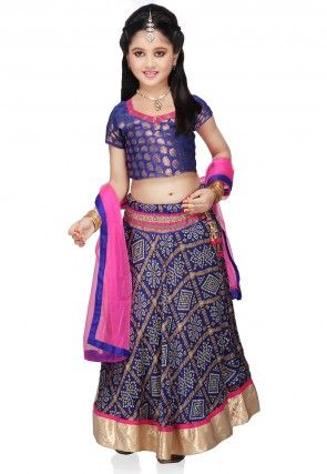 Printed Crepe Lehenga Sets in Blue