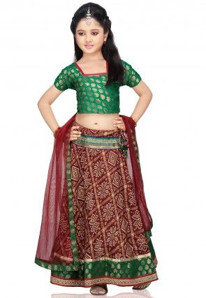 Printed Crepe Lehenga Set in Maroon