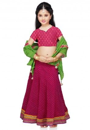 Printed Georgette Lehenga Set in Fuchsia