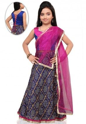 Bandhej Print Crepe Lehenga Set in Navy Blue