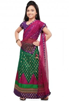 Chanderi Brocade Lehenga in Green
