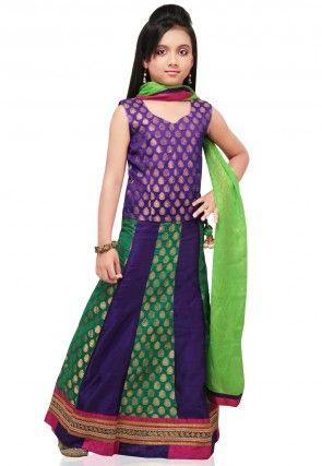 Raw Silk Lehenga Set in Green and Purple