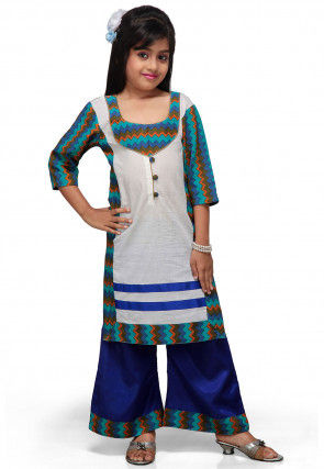 Printed Cotton Long Kurta with Palazzo in White