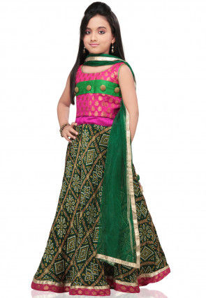 Bandhej Printed Crepe Lehenga Set in Dark Green