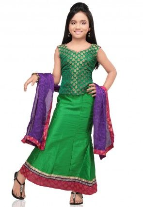 Plain Raw Silk Lehenga Set in Green