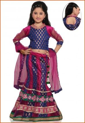 Embroidered Chanderi Silk and Net Lehenga Set in Blue and Fuchsia
