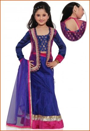Embroidered Shimmer Net Lehenga Set in Royal Blue