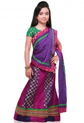 Raw Silk Lehenga Set in Fuchsia and Purple
