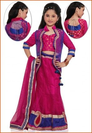 Embroidered Net Lehenga Set in Fuchsia