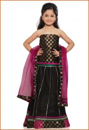 Dupion Silk Lehenga Set in Black