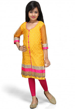 Woven Chinon Viscose Salwar Set in Yellow