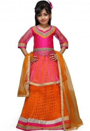 Embroidered Chinon Viscose Lehenga Set in Orange