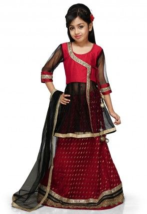 Embroidered Chinon Viscose Lehenga Set in Maroon