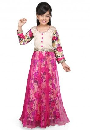 Printed Net and Ghicha Silk Gown in Beige and Magenta