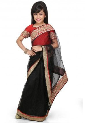 Embroidered Pre Stitched Net Saree in Black