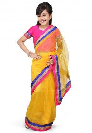 Embroidered Pre Stitched Net Saree in Yellow