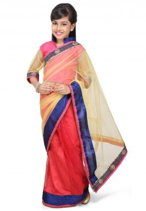 Embroidered Pre Stitched Net Saree in Yellow and Old Rose