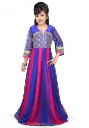 Embroidered Net Gown in Fuchsia and Blue