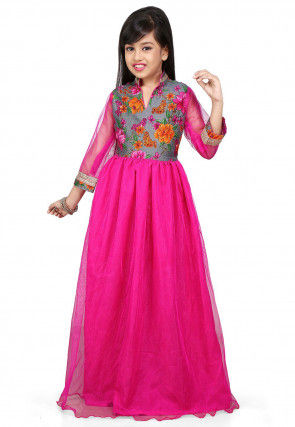 Printed Net and Bhagalpuri Silk Gown in Fuchsia and Grey