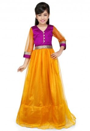 Plain Net and Dupion Silk Gown in Mustard and Magenta