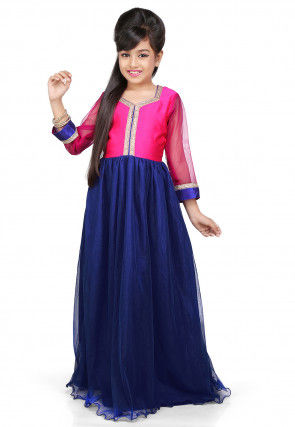 Plain Net and Dupion Silk Gown in Blue and Pink