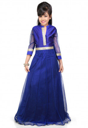 Plain Net and Dupion Silk Gown in Royal Blue