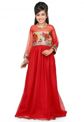 Printed Net and Ghicha Silk Gown in Red