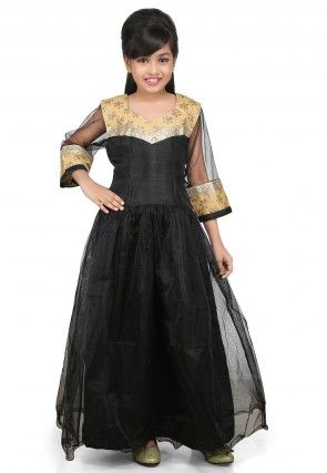 Embroidered Net and Dupion Silk Gown in Black