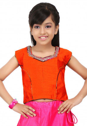 Embroidered NeckLine Dupion Crop Top in Orange