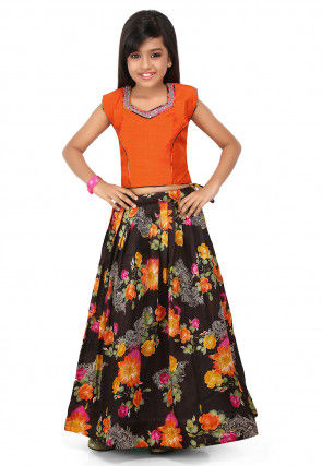 Printed Bhagalpuri Silk Pleated Lehenga in Black