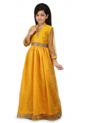 Plain Net Gown in Yellow