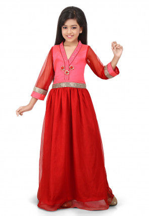 Plain Net Pleated Gown in Red and Pink