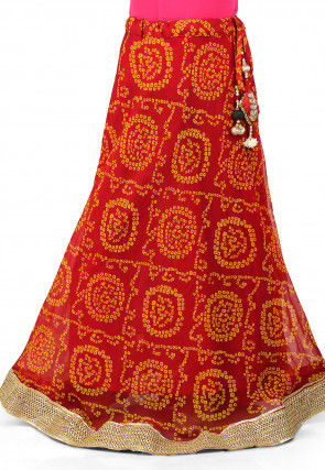Bandhej Printed Georgette Skirt in Red