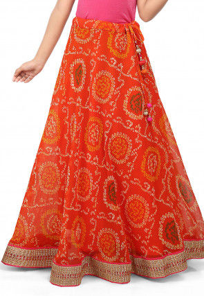 Bandhej Printed Georgette Skirt in Orange